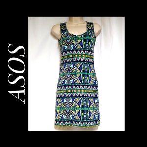 ASOS Tank Bodycon Dress Tribal Aztec Print Size 4